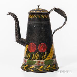 Painted Tin Coffeepot