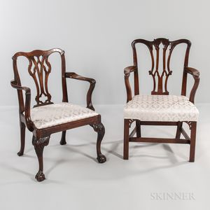 Two Georgian Mahogany Open Armchairs