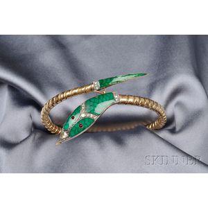 18kt Gold, Enamel, and Diamond Snake Bracelet