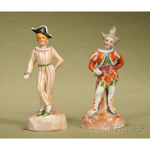 Two Porcelain Nodding Clowns