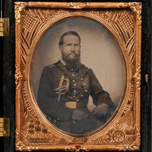 Sixth-plate Tintype Portrait of a Seated Union Officer