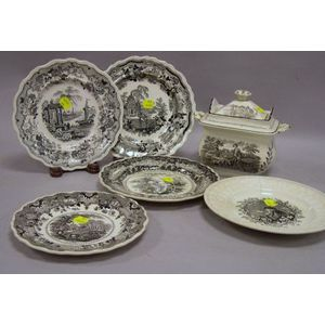 Five Assorted English Black and White Transfer Decorated Staffordshire Plates and a   Covered Sugar