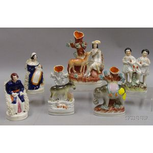 Six Staffordshire Pottery Figures and Animals