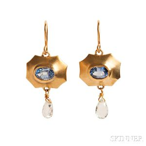 18kt Gold, Sapphire, and Beryl Earrings