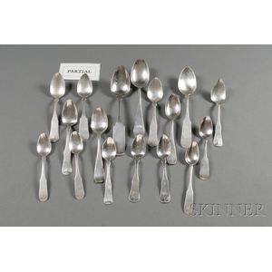 Fifty-seven Assorted Coin Silver Spoons