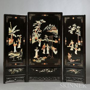 Three-panel Lacquer Floor Screen
