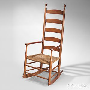 Shaker Five-slat Maple and Birch Community Rocking Chair