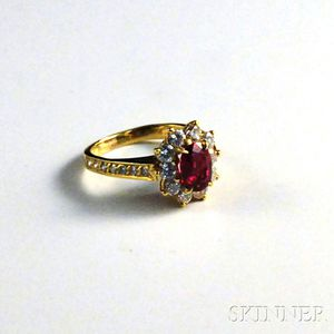 22kt Gold, Diamond, and Ruby Ring