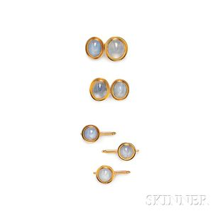 Art Deco 14kt Gold and Star Sapphire Dress Set, F. Walter Lawrence