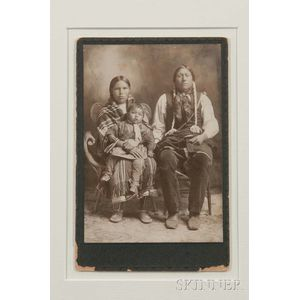 "Framed Photograph of ""Kiowa Bill and Squaw Amegeta with papoose Kicking Eagle,"""