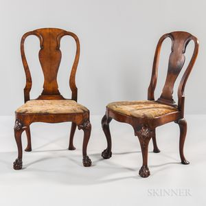 Pair of George II Walnut-veneered Side Chairs
