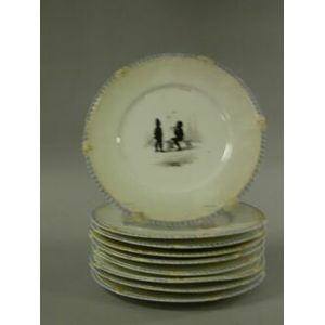Set of Nine Silhouette Children at Play Decorated Ceramic Plates.