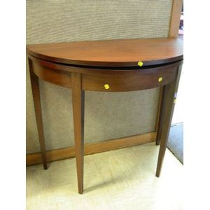 Federal-style Mahogany Inlaid Demi-lune Game Table.