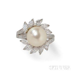 Platinum, Cultured Pearl, and Diamond Ring
