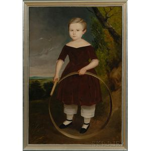 American School, 19th Century      Portrait of a Boy Wearing a Red Dress, Playing with a Hoop.