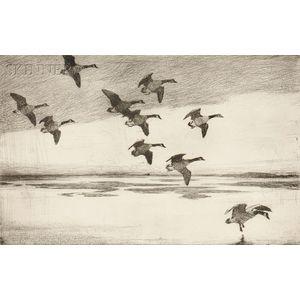Frank Weston Benson (American, 1862-1951)      Geese Drifting Down