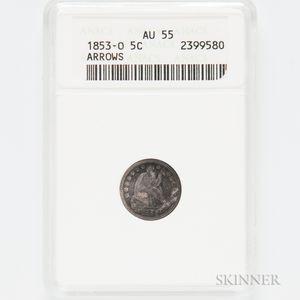 1853-O Arrows Seated Liberty Half Dime, ANACS AU55.     Estimate $100-150