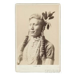 Framed Cabinet Card Photograph of a Crow Indian Old Coyote by Haynes