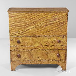 Putty-painted Pine Blanket Chest over Two Drawers