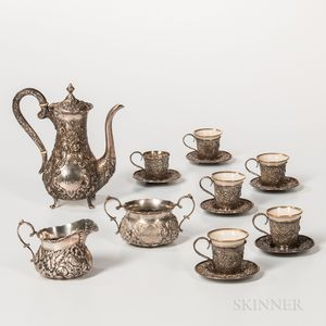 Three-piece A.G. Schultz Sterling Silver Coffee Service with Associated Baltimore Silver Co. Cups and Saucers