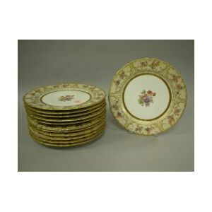 Set of Twelve Limoges Gilt and Floral Decorated Porcelain Dinner Plates.