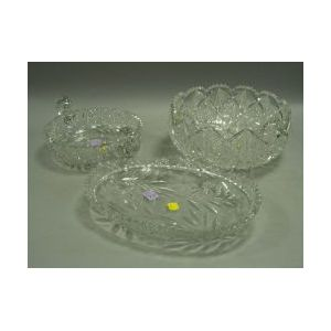 Three Colorless Brilliant Cut Glass Bowls.