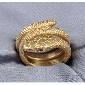 18kt Gold Snake Ring, Cartier, Paris