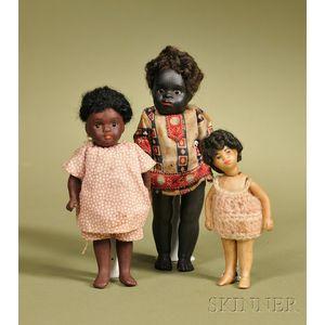 Three All-Bisque Black Children