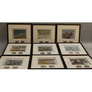 Nine Framed Duck Stamp Prints