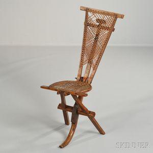 Folk Carved Cane-back Folding Chair with Anti-Silverite Inscription