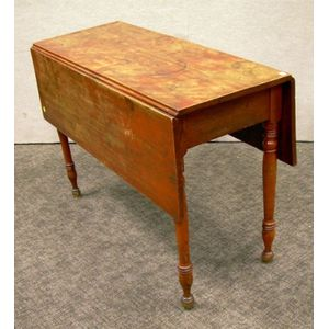 Federal Red-painted Drop-leaf Table.