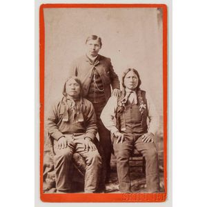 "Arapaho Chief, ""Black Coal,"" ""Coolidge,"" and ""Painting Horse,"" Cabinet Card by Baker and Johnson"