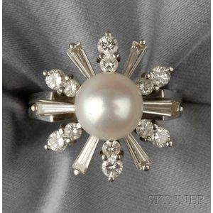 14kt White Gold, Cultured Pearl, and Diamond Ring