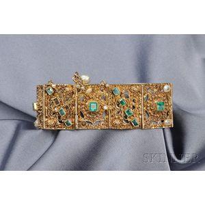 18kt Gold, Emerald, and Pearl Bracelet