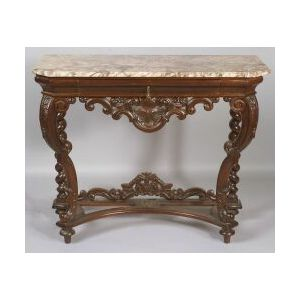 Baroque Revival Walnut Marble-top Console Table