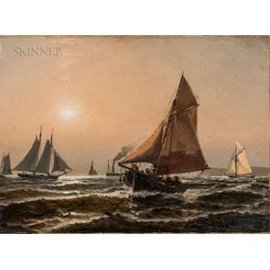 Attributed to Edward Moran (American, 1829-1901)    Vessels off the Coast Under a Hazy Sky