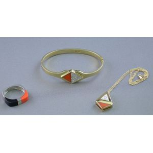 14kt Gold, Coral, and Diamond Bracelet, a Similar Pendant Necklace, and a 14kt White Gold, Onyx, Coral, and Dia...