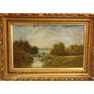 Framed Oil on Canvas, Bridge at Autumn