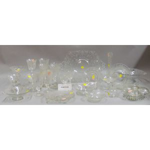 Approximately Sixty-four Pieces of  Rose Point Glassware