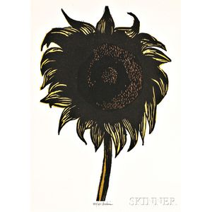 Leonard Baskin (American, 1922-2000)      Two Floral Works:  Untitled (Sunflower)