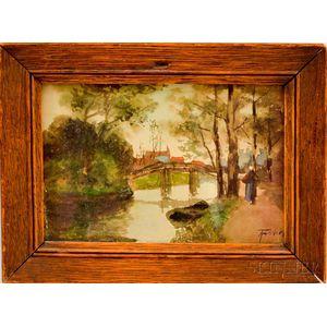 Adriaan Christiaan Willem Terhell (Dutch, 1863-1949)      View of a River and Distant Church