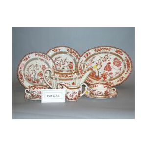 Approximately Eighty-five Piece Copeland Spode India Tree Pattern Ceramic Partial Dinner Service.