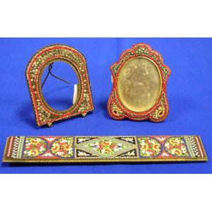 Two Small Italian Micromosaic Table Frames and a Panel.
