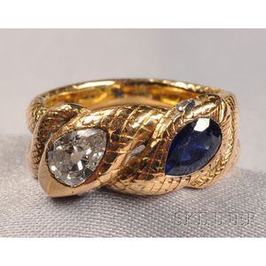 18kt Gold, Sapphire, and Diamond Snake Ring