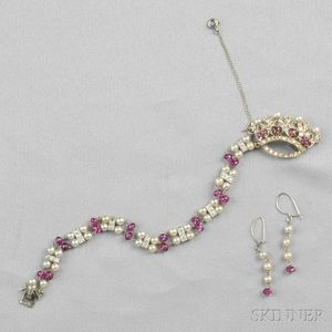 Pearl, Ruby, and Diamond Bracelet