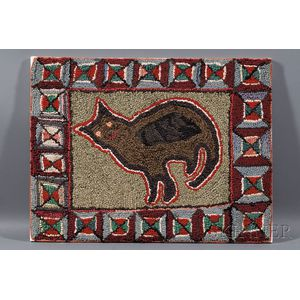 Wool and Cotton Hooked Rug with Cat Motif