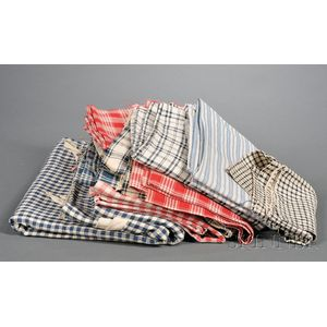Twelve Red, White, and Blue Cotton and Homespun Linen Articles
