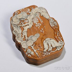 Duan Stone Carved Inkstone and Case