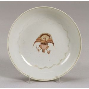 American Eagle Decorated Chinese Export Porcelain Saucer