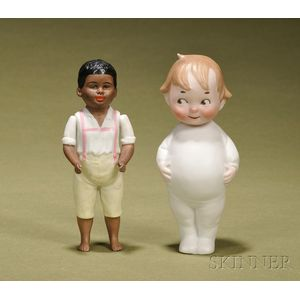 Two All-Bisque Characters Dolls